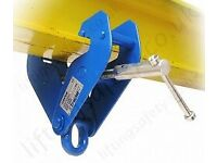 H I beam steel RSJ clamp lifting point 4 pulley block & tackle chain hoist garage engine crane shed