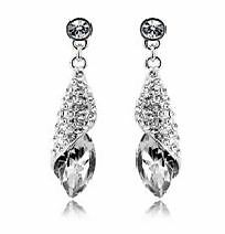 Luxury design for women gift, fashion silver teardrop crystal st