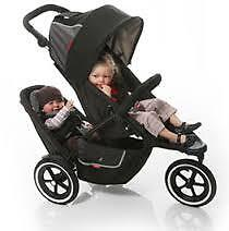 Phil&teds stroller with  Doubles Kit +rain cover