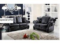 !! brand NEW BLACK ITALIAN DESIGN LEATHER 3+2 SOFA SET WAS £899 NOW £499