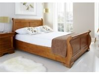 kings size bed frame sleigh bed oak colour