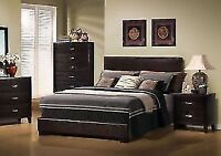 **QUEEN SIZE COMPLETE BED LEATHER-LOOK ONLY FOR 189$*