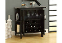 """""""NEW"""" CAPPUCCINO 36""""H BAR UNIT WITH BOTTLE AND GLASS STORAGE"""