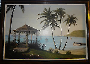 Large Bill Saunders  Canvas Picture framed Caribbean Dream