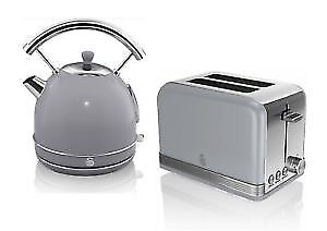 Swan Retro Grey Kettle Toaster Set