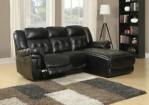 SOFA LOUNGER – MOTION / BLACK BONDED LEATHER MATCH