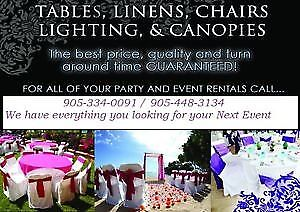 party rentals,, chairs, tables, linen, chafing dish, cutlery