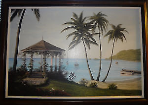 Large Bill Saunders framed  Canvas Picture Caribbean Dream