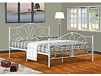 4FT 6 DOUBLE WHITE METAL BED FRAME - NEVER ASSEMBLED