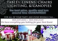 FAB PARTY RENTALS - CHAIRS, TABLES, LINEN, CHAFING DISH, TENTS