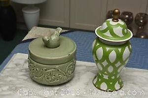 Two Decor Containers With Lids A