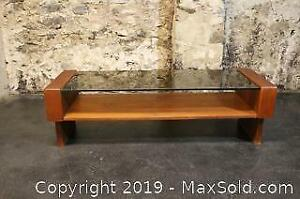 Mid Century teak with glass top coffee table
