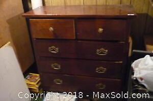 "Wood dresser drawers with contents. 44.5"" tall 39"" across 15.5 wide. -C"