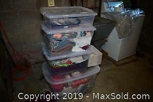 4 Storage Bins, Christmas Decor, Linens, Bags - B