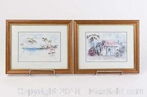 Hand Painted Watercolour Beach Scenes of St Martin Signed