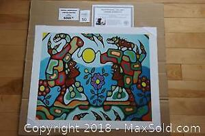 Native Ojibway Norval Morrisseau GATHERING OF SHAMAN unframed print with COA