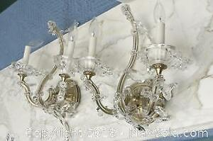 Two Crystal Electrical Sconces A