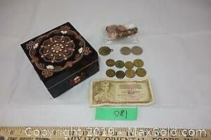 Jewelry box, coins and paper bill from the former Yugoslavia A