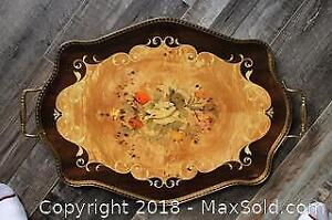 Lacquered Wood Inlay Italian Serving Tray