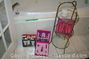 3 Tiered Glass Shelf with Metal Frame and Designer Perfumes
