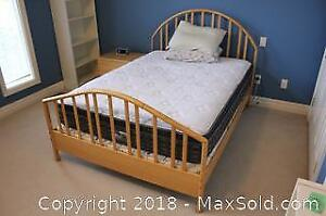 Morigeau Double Sized Wood Bed Frame With Optional Mattress