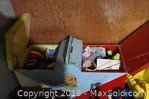 Wooden Toy Chest and Contents - B