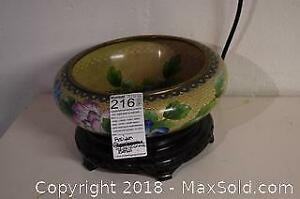 Asian Cloisonne Bowl With Stand - A