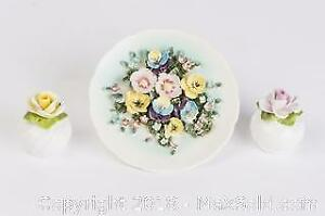 ESD Japan Floral Dish and Red and Yellow Rose Salt Shakers RADNOR Bone China.