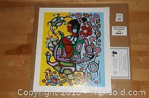 Native Ojibway Norval Morrisseau SHAMAN AND TURTLE unframed print with COA