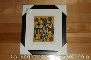 Native Ojibway Norval Morrisseau THUNDERBIRD newly framed with COA