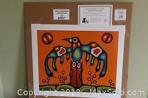 Native Ojibway Norval Morrisseau unframed limited edition print THUNDERBIRD SPIRIT with COA