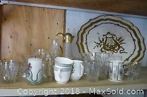Glass and China with Lacquer Serving Tray - A