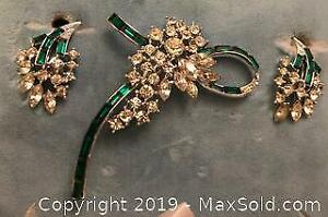 1950s Rhinestone Brooch and Clip-on Earring Set