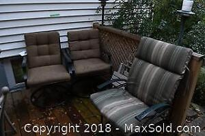 3 Metal Outdoor Chairs And 2 Side Tables C