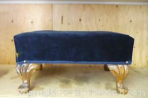 Upholstered Footstool Upcycled from India Tea Container - A