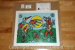 Native Ojibway Norval Morrisseau THUNDERBIRD FACES CAVE BEAR unframed print with COA