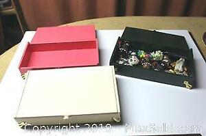 Three Old Cigar Boxes Painted, Including Fridge Magnets