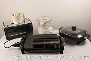 Lot of Five Electrical Kitchen Appliances including Toaster Oven, Juicer, Steamer, Electric Fry Pan