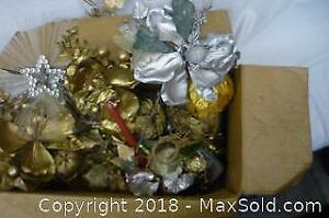 Box of Christmas Decorations, some Vintage - A