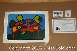 Native Ojibway Norval Morrisseau BEAR SPIRIT unframed print with COA