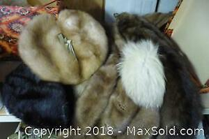 Vintage Hat Box with Furs Inside - A