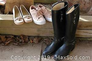 Ladies Footwear, Stuart Weitzman Faux Crocodile Tasseled Loafers, Suede Converse, DAV Riding Boots