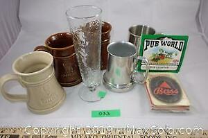 Beer mugs and glass, British pub coasters lot A