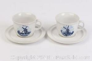 Two Ter Steege BV Delft Hand painted Stoneware Teacups