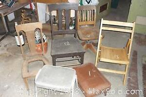 Lot of Vintage Wooden Chairs & 2 Foot Stools -A
