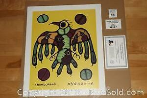Native Ojibway Norval Morrisseau THUNDERBIRD unframed print with COA