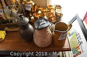 Pewter Coffee Set And Pitchers A