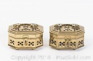 Two Little Cut Brass Curio Boxes