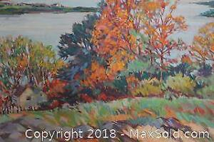 20th Century Canadian Artist, Helen Turquand (1885-1966), Large Post-Impressionist Landscape Oil on Canvas Painting