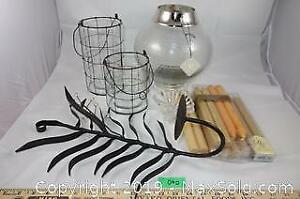 Assorted crystal, glass and metal decorative candle holders and candles A